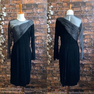 Vtg Oscar de la Renta Black Velvet and Silk Dress